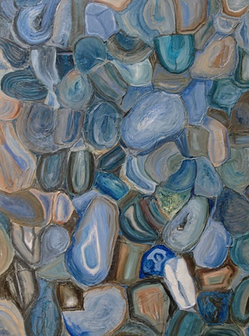 textural abstract painting in blues