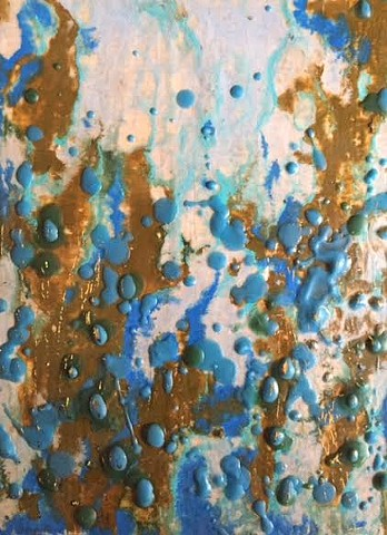 encaustic with gold leaf. shades of turqoise, greens and pale blue.