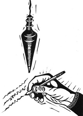 a linocut of a pumb bob hovering over a hand writing poetry by Leslie Moore of PenPets. A book illustration for Saving Nails by Thomas R. Moore.
