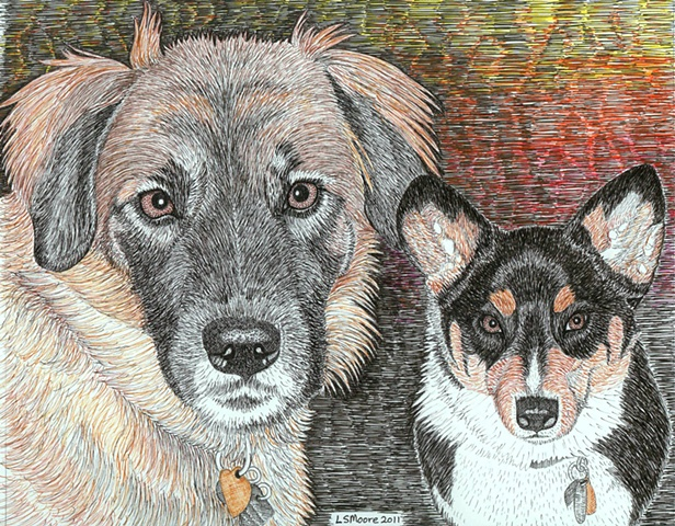 A colored pen and ink drawing of a Golden retriever/shepherd mix and a Welsh Corgi by Leslie Moore.
