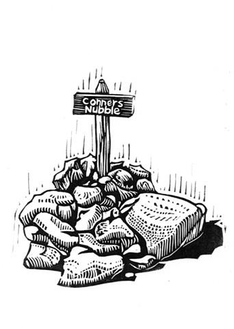 a linocut of a cairn in Acadia National Park marking the peak of Conners Nubble by Leslie Moore of PenPets. A book illustration for Saving Nails by Thomas R. Moore.