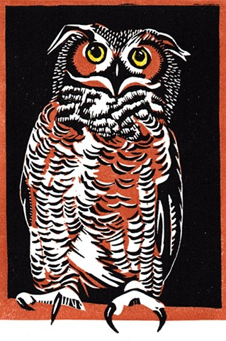 a chiaroscuro linocut of a great horned owl by Leslie Moore of PenPets
