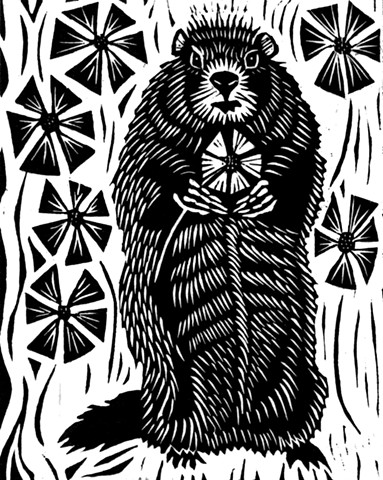 a woodcut of a woodchuck in a garden with a flower in its hands by Leslie Moore of PenPets
