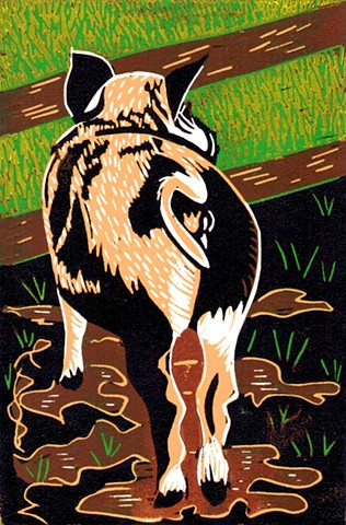 a five-color linocut of a baby pig or piglet looking at greener grass on the other side of a fence by Leslie Moore of PenPets