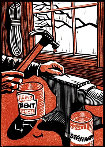 a chiaroscuro linocut of a carpenter's hands straightening nails on an anvil with a hammer by Leslie Moore of PenPets