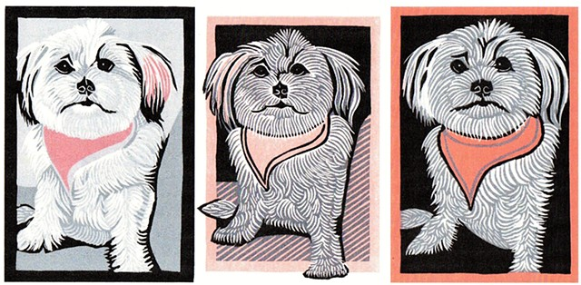 Linocut dog, PenPets, Morkie, Maltese/Yorkie mix, dog art, reduction linocut