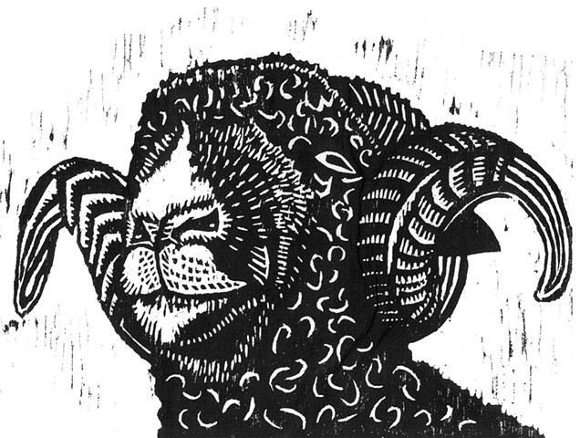 a woodcut of a ram by Leslie Moore of PenPets