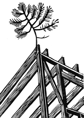 a linocut of the framing of a house under construction with a green bow nailed to its peak by Leslie Moore of PenPets. A book illustration for Saving Nails by Thomas R. Moore.