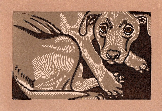 Linocut dog, PenPets, labrador/pitbull mix, dog art, reduction linocut