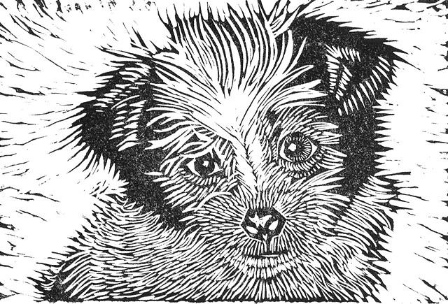 A linocut of a mixed terrier puppy by Leslie Moore of PenPets