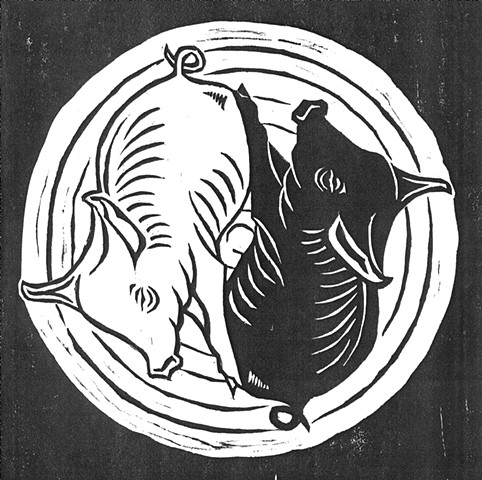 a woodcut of two piglets sleeping together by Leslie Moore of PenPets