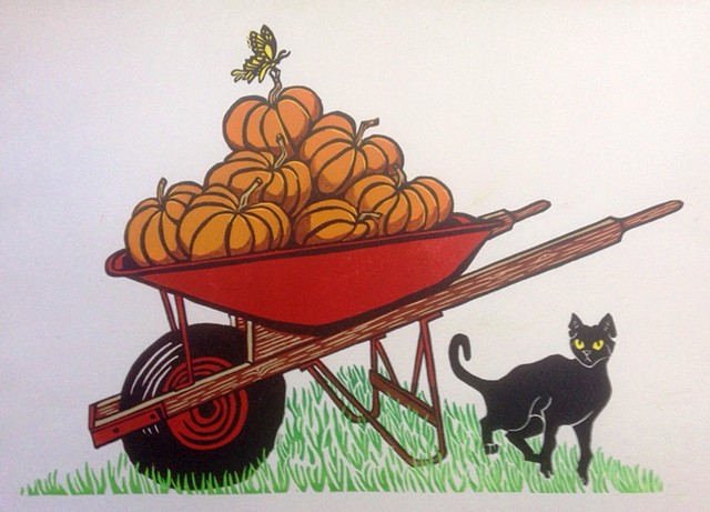 reduction linocut, red wheelbarrow, black cat, swallowtail butterfly, pumpkins, farm art, PenPets, Leslie Moore