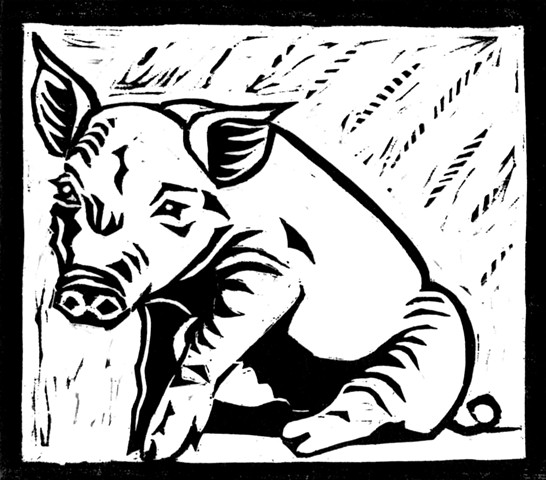 a woodcut of a piglet by Leslie Moore of PenPets