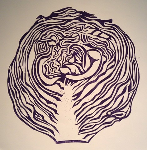 a woodcut of a purple cabbage cut in half by Leslie Moore of PenPets