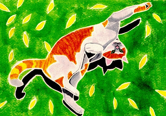 a white-line woodblock print of a marmalade cat rolling on his back by Leslie Moore of PenPets