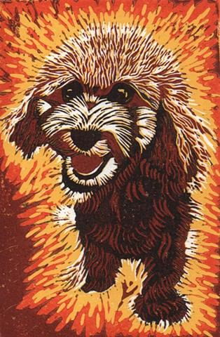 A linocut of a cockapoo puppy in red by Leslie Moore of PenPets