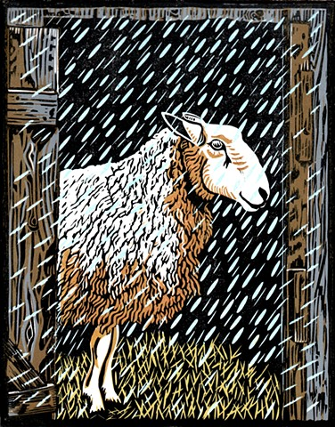 a reduction linocut of a sheep in snow standing at the doorway of a sheep shed by Leslie Moore of PenPets