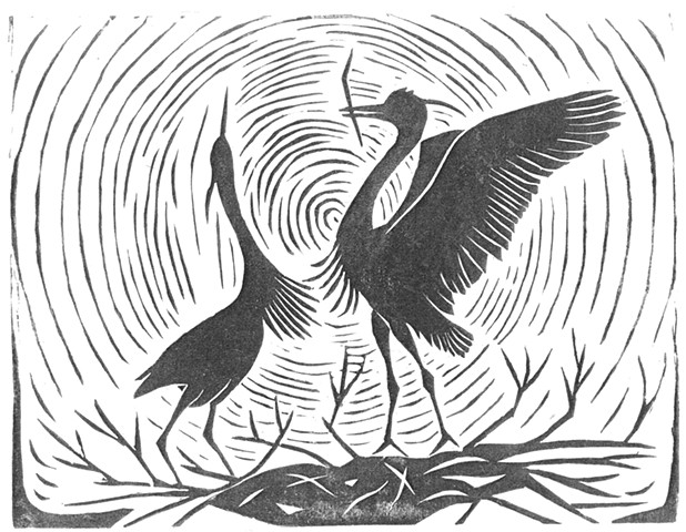 a woodcut of two great blue herons dancing on their nest by Leslie Moore of PenPets