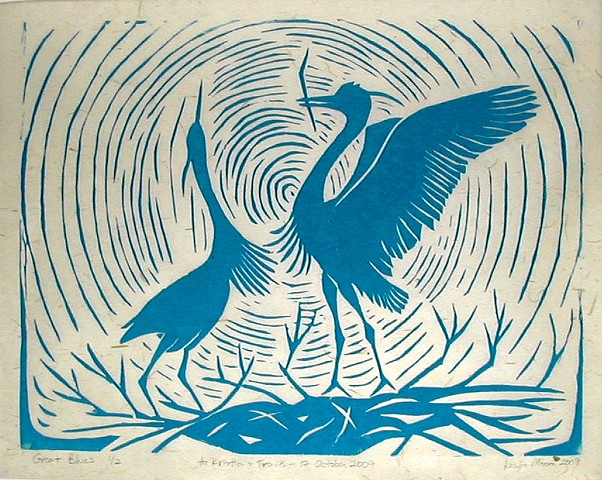 a woodcut in blue ink of two great blue herons dancing on their nest by Leslie Moore of PenPets