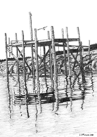 A pen and ink drawing of a pier in Stonington, Maine, by Leslie Moore of PenPets.