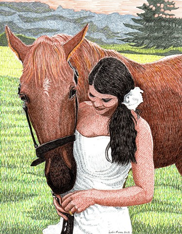 horse art, PenPets, colored pen-and-ink drawing, horse drawing, horse and woman in wedding dress, horse in wedding picture