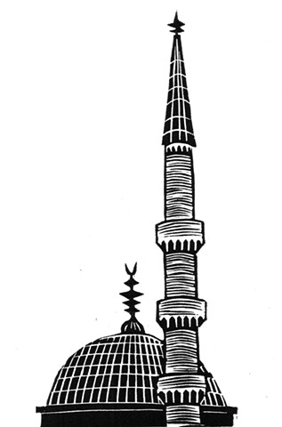 a linocut of a a dome and a minaret of Sulemaniye Mosque in Istanbul by Leslie Moore of PenPets. A book illustration for Saving Nails by Thomas R. Moore.