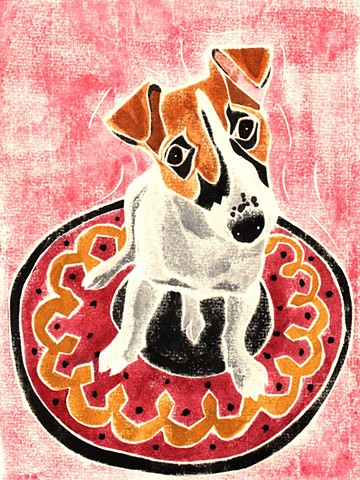 a white-line woodblock print of a Jack Russell Terrier by Leslie Moore of PenPets