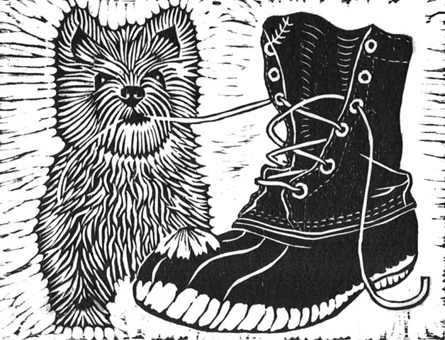 a woodcut of a West Highland Terrier puppy next to an L.L. Bean boot, shoelace in his mouth by Leslie Moore of PenPets