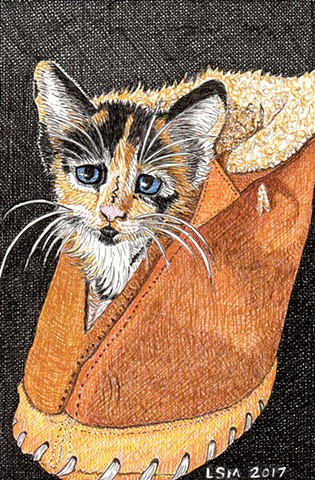 a colored pen and ink drawing of a cute calico kitten in a sheepskin slipper by Leslie Moore of PenPets
