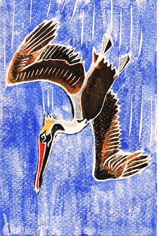 a white-line woodblock print of a brown pelican diving for fish by Leslie Moore of PenPets