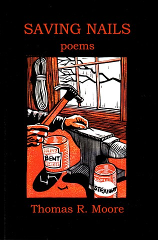 a chiaroscuro linocut of a carpenter's hands straightening nails on an anvil with a hammer by Leslie Moore of PenPets. Cover illustraation of the book Saving Nails.
