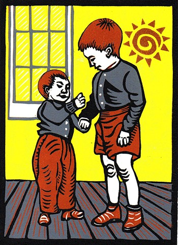 linocut, children, art, vintage