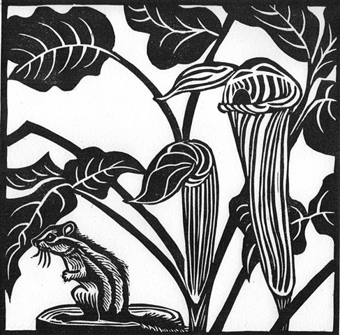 linoleum block print, linocut, Jack-in-the-Pulpits, chipmunk, animal art, forest art, PenPets, Leslie Moore