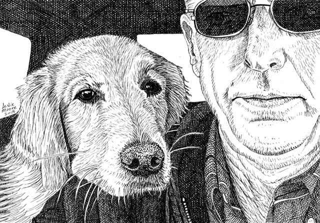 A pen and ink drawing of a Golden retriever with her chin on her person's shoulder in the car by Leslie Moore of PenPets.