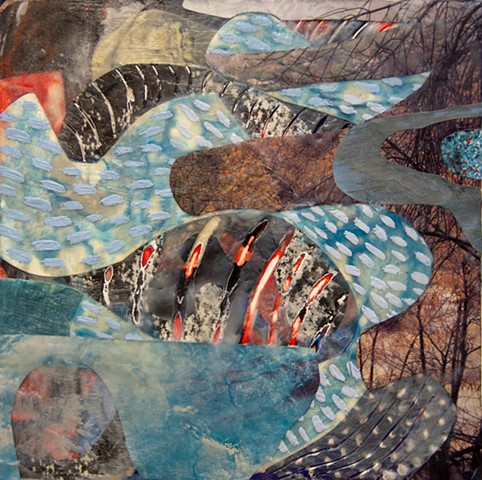 Encaustic, collage, mixed media, painting