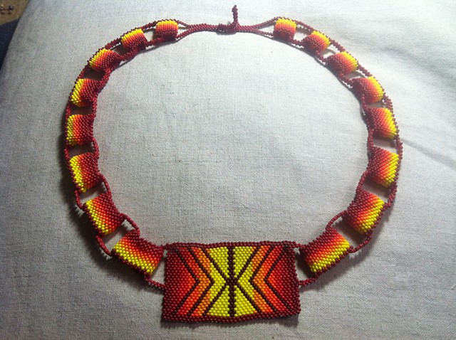 Peyote-stitch chain necklace in orange and gold tones