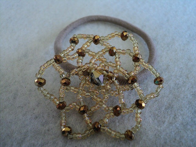 Crystal and glass gold seed bead hair elastic
