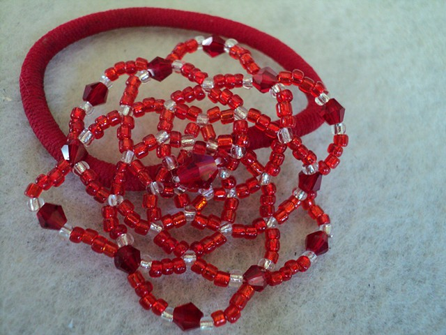 Crystal and glass red seed bead hair elastic