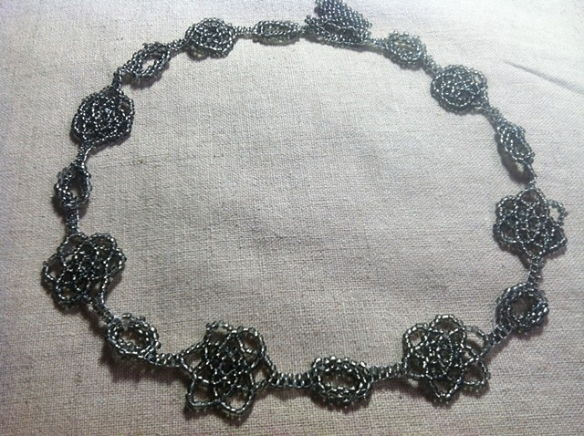 Snowflake peyote silver glass seed bead necklace