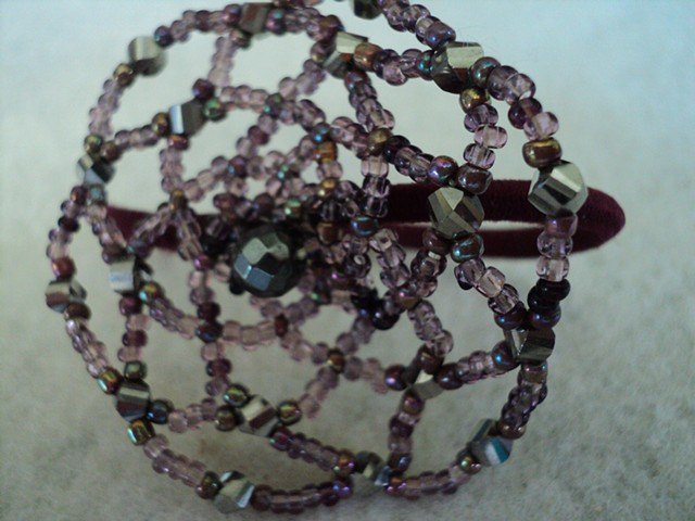 Crystal and glass violet seed bead hair elastic