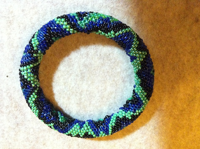 blue 'snakeskin' peyote bangle bracelet