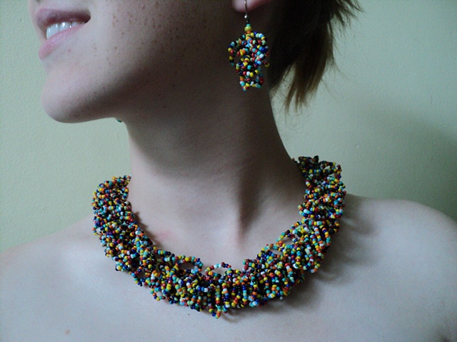 multi-colored looped glass seed bead necklace & earrings
