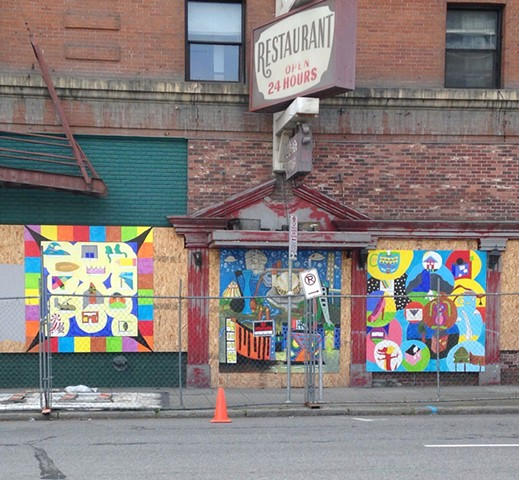 2 8'x8' murals put up on the abandoned Otis Hotel in downtown Spokane, WA