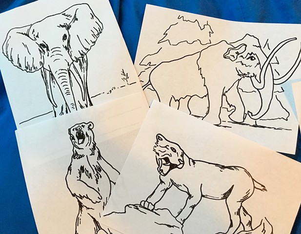 Mammoth, Mastodon, Cave Bear, Homotherium, etc. Coloring Pages
