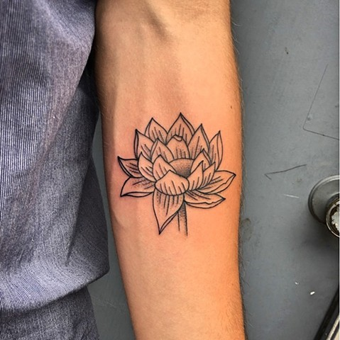 Lotus tattoo by Kc Carew at Gold Standard Tattoo in Bend, OR.