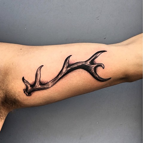 Antler tattoo by Kc Carew