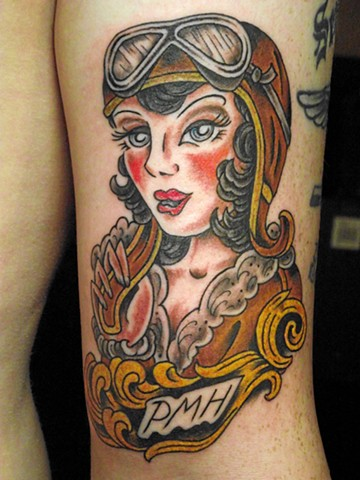 Aviation pin-up girl. Dirk Spece. Gold Standard Tattoo Shop. Bend Oregon.