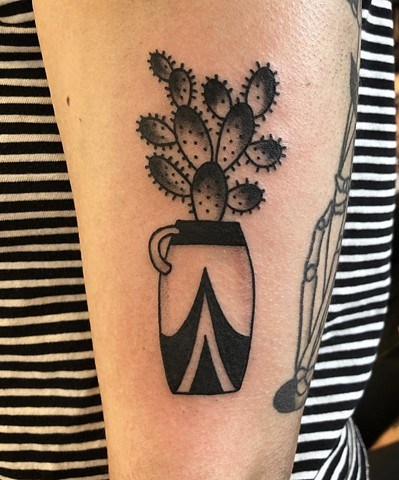 Cactus vase tattoo by Kc Carew at Gold Standard Tattoo in Bend, Oregon