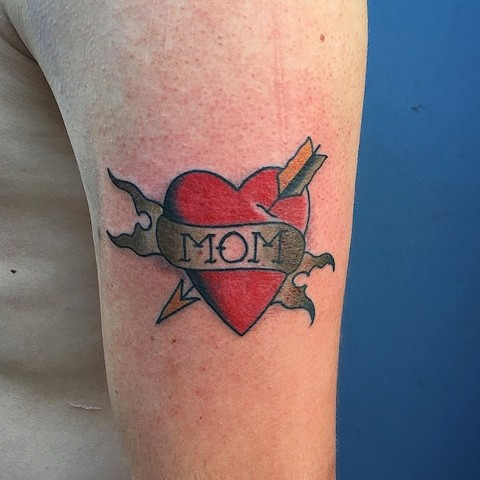 "Traditional ""Mom"" heart tattoo by Kc Carew at Gold Standard Tattoo in Bend, OR."