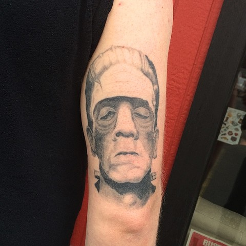 Realistic Frankenstein's monster tattoo by Dirk Spece at Gold Standard Tattoo in Bend, OR.